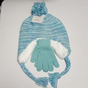 NWT Child Capelli light green hat and glove set